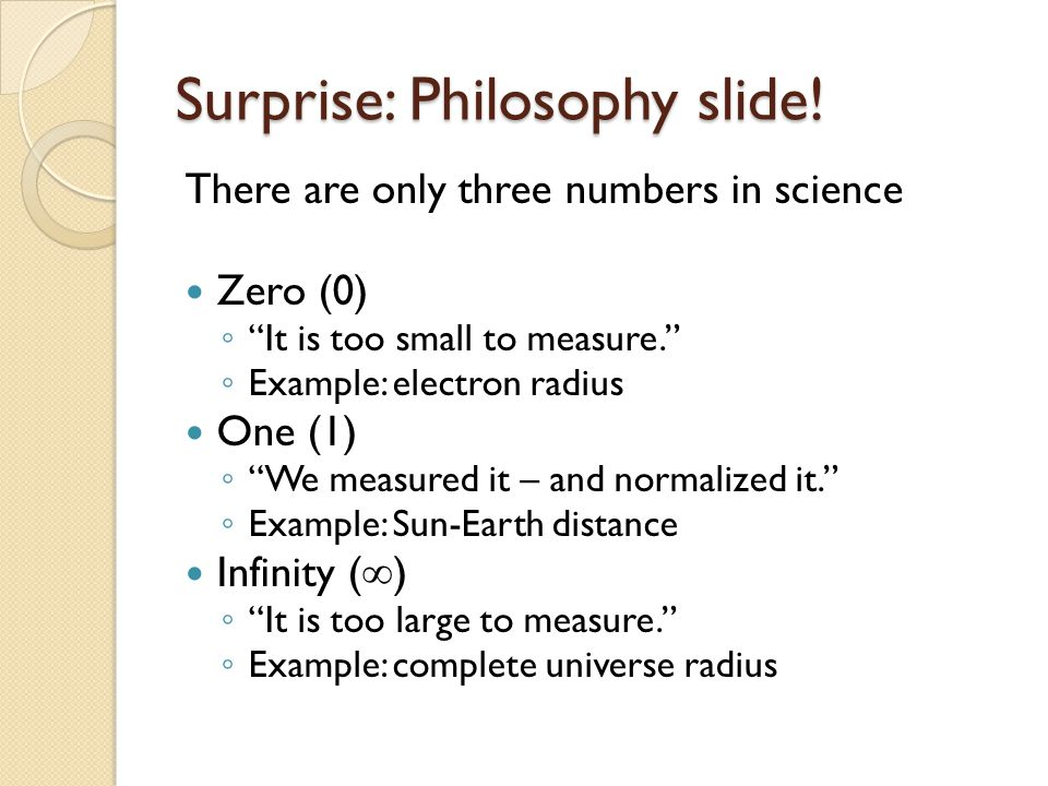 Surprise: Philosophy slide.
