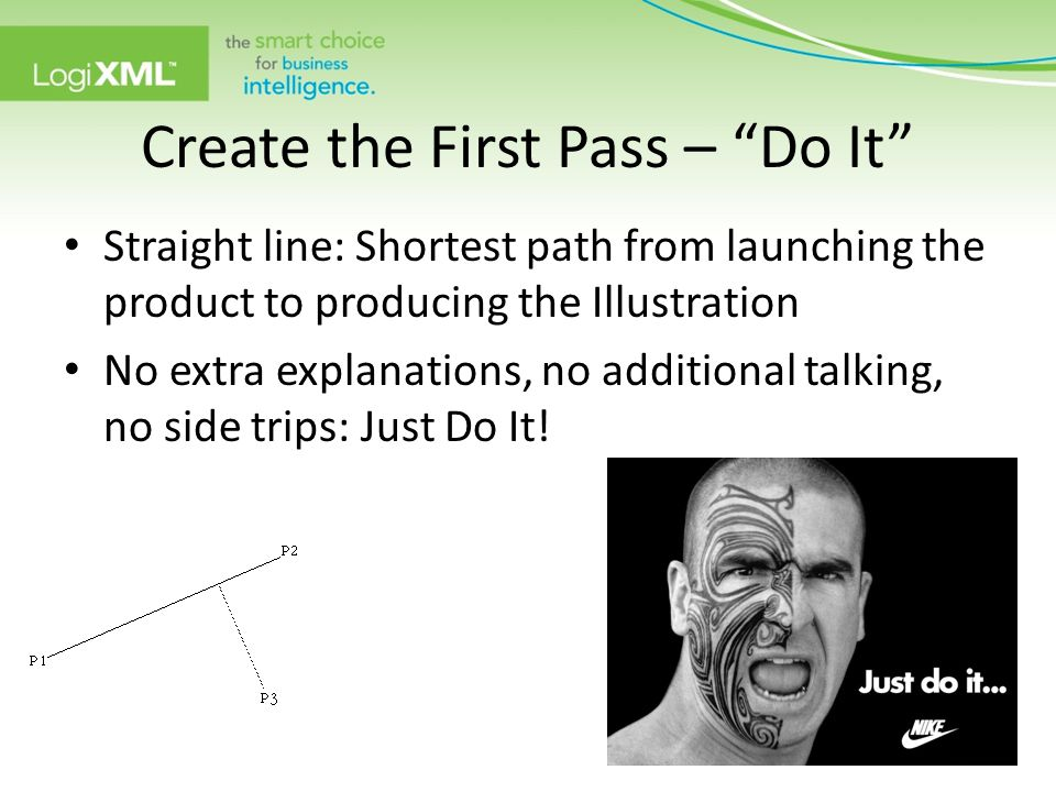 "Create the First Pass – ""Do It"" Straight line: Shortest path from launching the product to producing the Illustration No extra explanations, no additi"