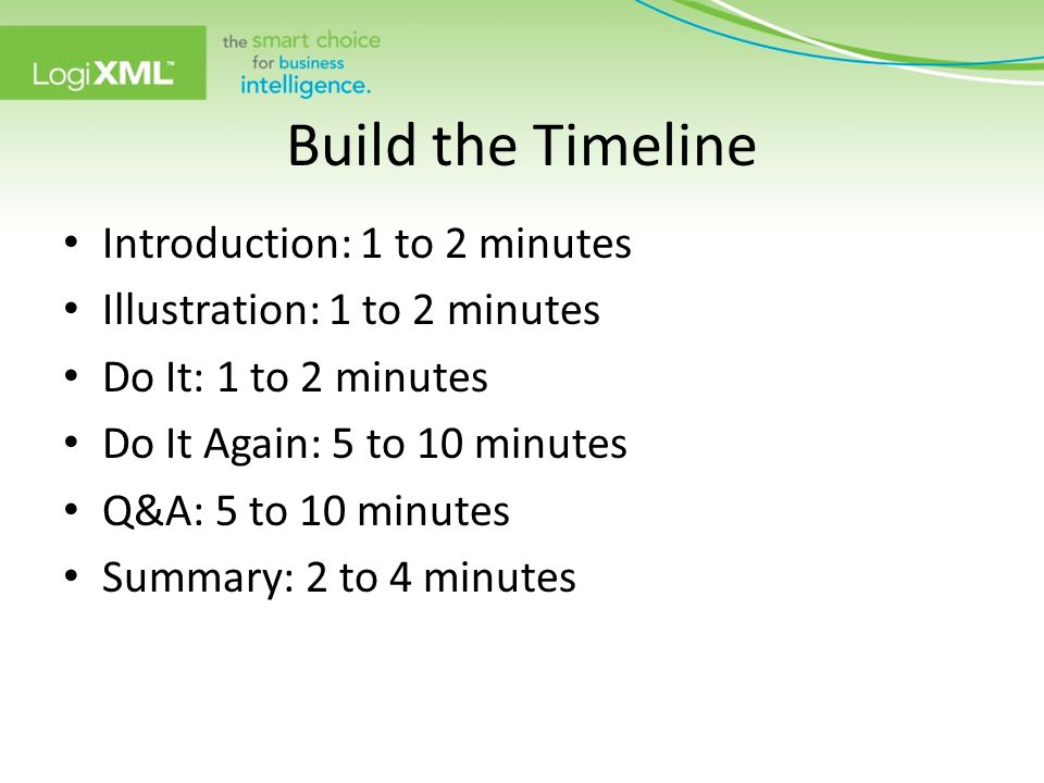 Build the Timeline Introduction: 1 to 2 minutes Illustration: 1 to 2 minutes Do It: 1 to 2 minutes Do It Again: 5 to 10 minutes Q&A: 5 to 10 minutes S