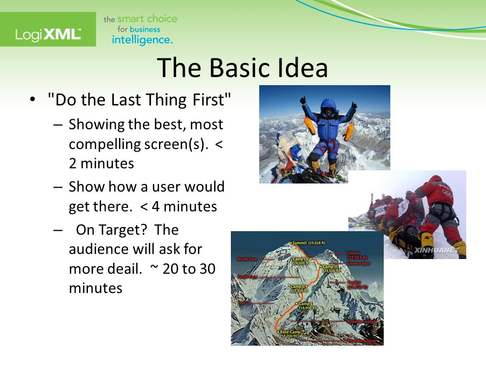 The Basic Idea Do the Last Thing First – Showing the best, most compelling screen(s).