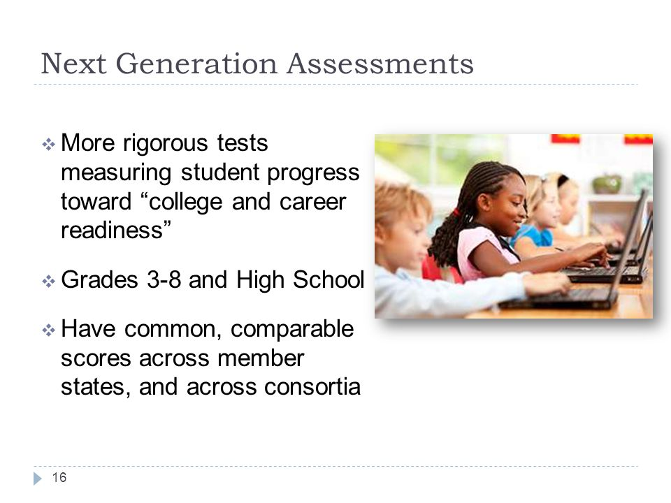 "Next Generation Assessments  More rigorous tests measuring student progress toward ""college and career readiness""  Grades 3-8 and High School  Have"