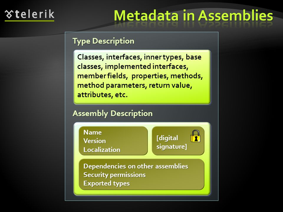 Type Description Assembly Description Classes, interfaces, inner types, base classes, implemented interfaces, member fields, properties, methods, meth