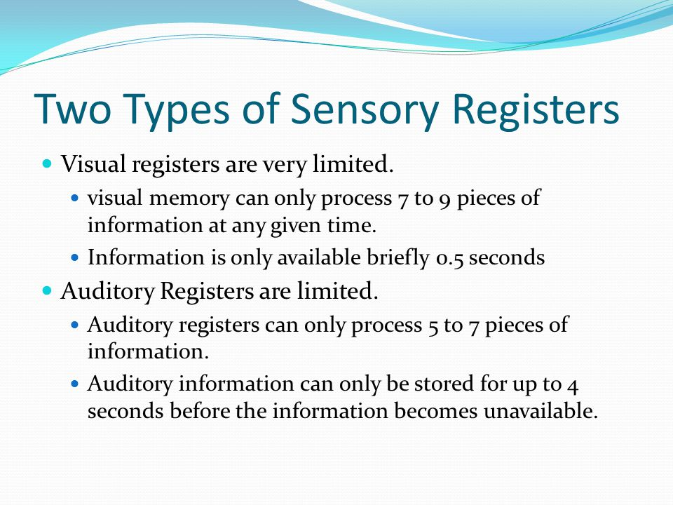 "Description of Sensory Memory Sensory memory-""is a system that briefly holds stimuli in sensory registers so that perceptual analyses can occur before"