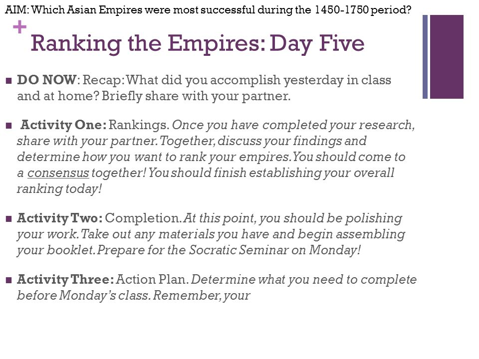 + Ranking the Empires: Day Five DO NOW: Recap: What did you accomplish yesterday in class and at home.