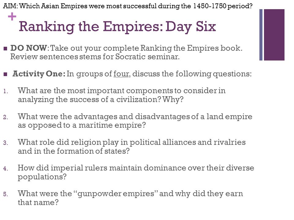 + Ranking the Empires: Day Six DO NOW: Take out your complete Ranking the Empires book.