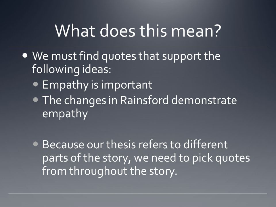 I - INTRODUCE What is happening in the story before the quote you selected.