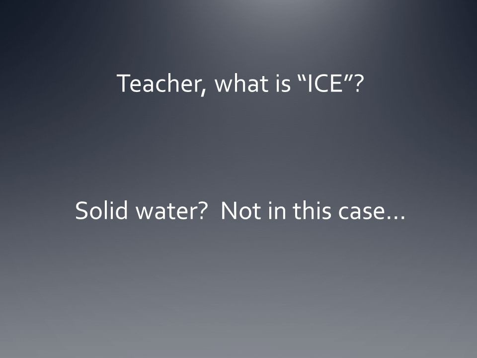 Teacher, what is ICE Solid water Not in this case…
