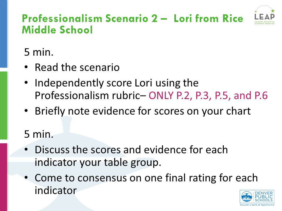 5 min. Read the scenario Independently score Lori using the Professionalism rubric– ONLY P.2, P.3, P.5, and P.6 Briefly note evidence for scores on yo