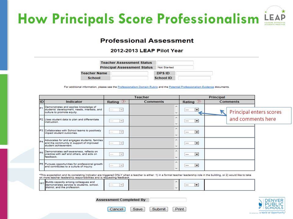 How Principals Score Professionalism Principal enters scores and comments here