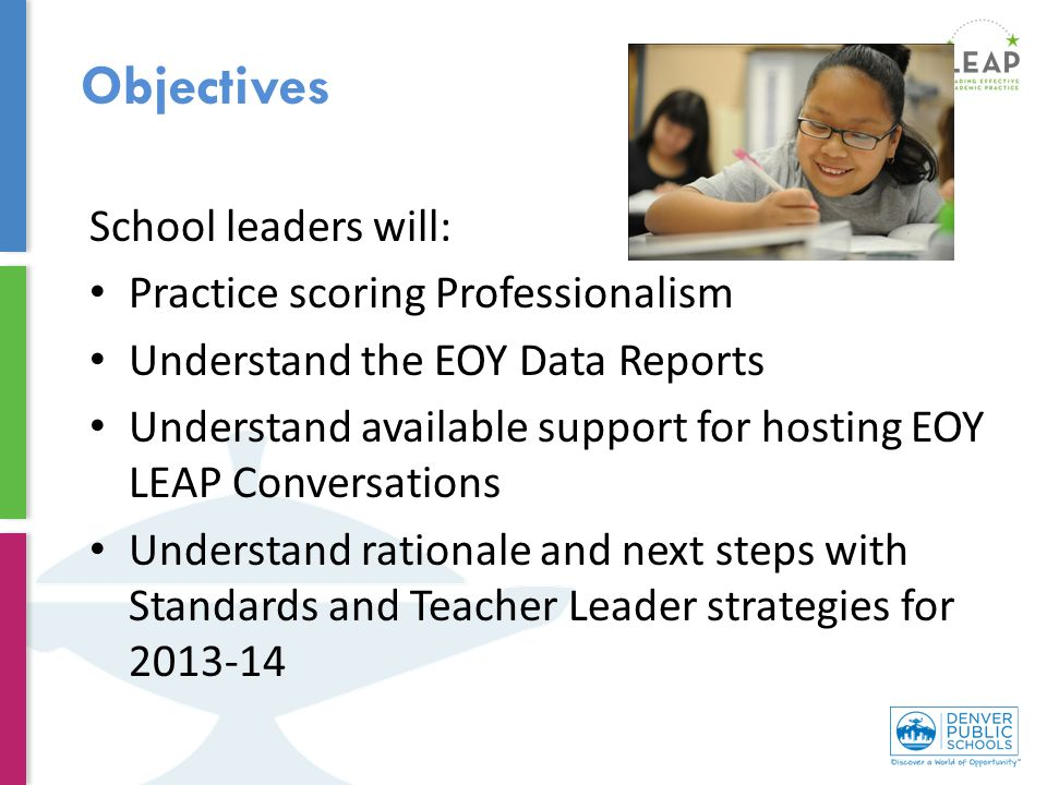 School leaders will: Practice scoring Professionalism Understand the EOY Data Reports Understand available support for hosting EOY LEAP Conversations Understand rationale and next steps with Standards and Teacher Leader strategies for 2013-14 Objectives