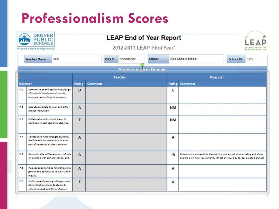 Professionalism Scores