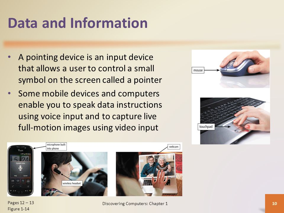 Data and Information A pointing device is an input device that allows a user to control a small symbol on the screen called a pointer Some mobile devi