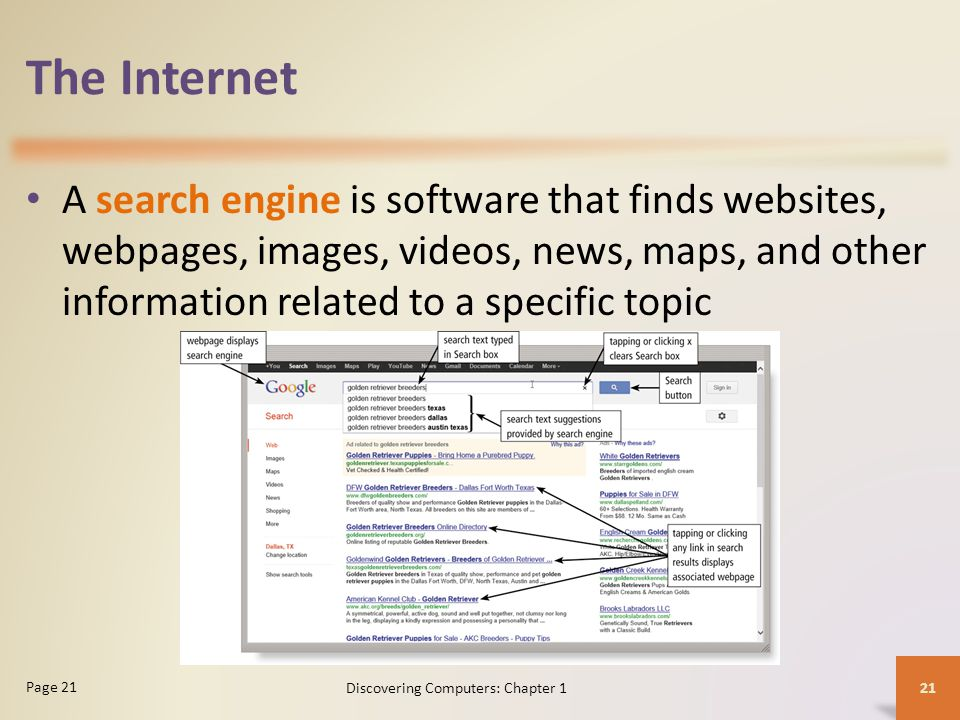 The Internet A search engine is software that finds websites, webpages, images, videos, news, maps, and other information related to a specific topic