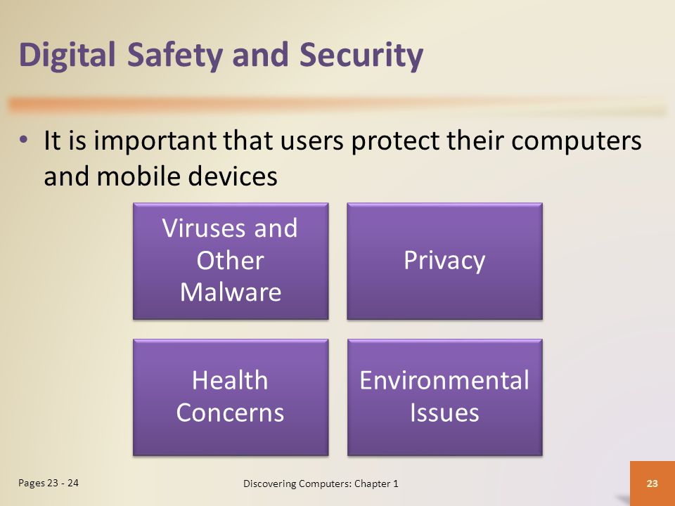 Digital Safety and Security It is important that users protect their computers and mobile devices 23 Pages 23 - 24 Discovering Computers: Chapter 1 Vi