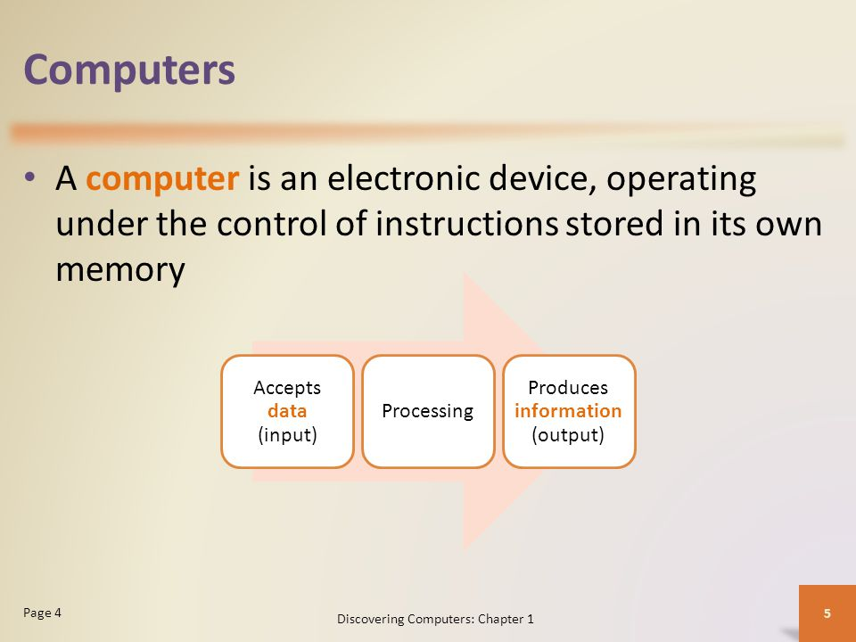 Computers A computer is an electronic device, operating under the control of instructions stored in its own memory Discovering Computers: Chapter 1 5