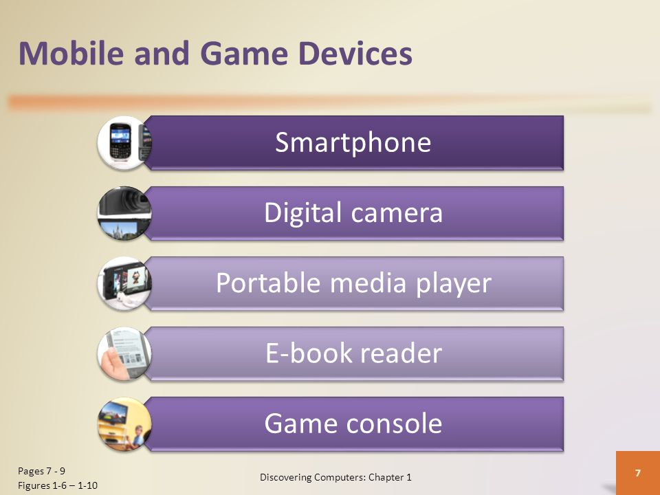 Mobile and Game Devices Smartphone Digital camera Portable media player E-book reader Game console Discovering Computers: Chapter 1 7 Pages 7 - 9 Figu