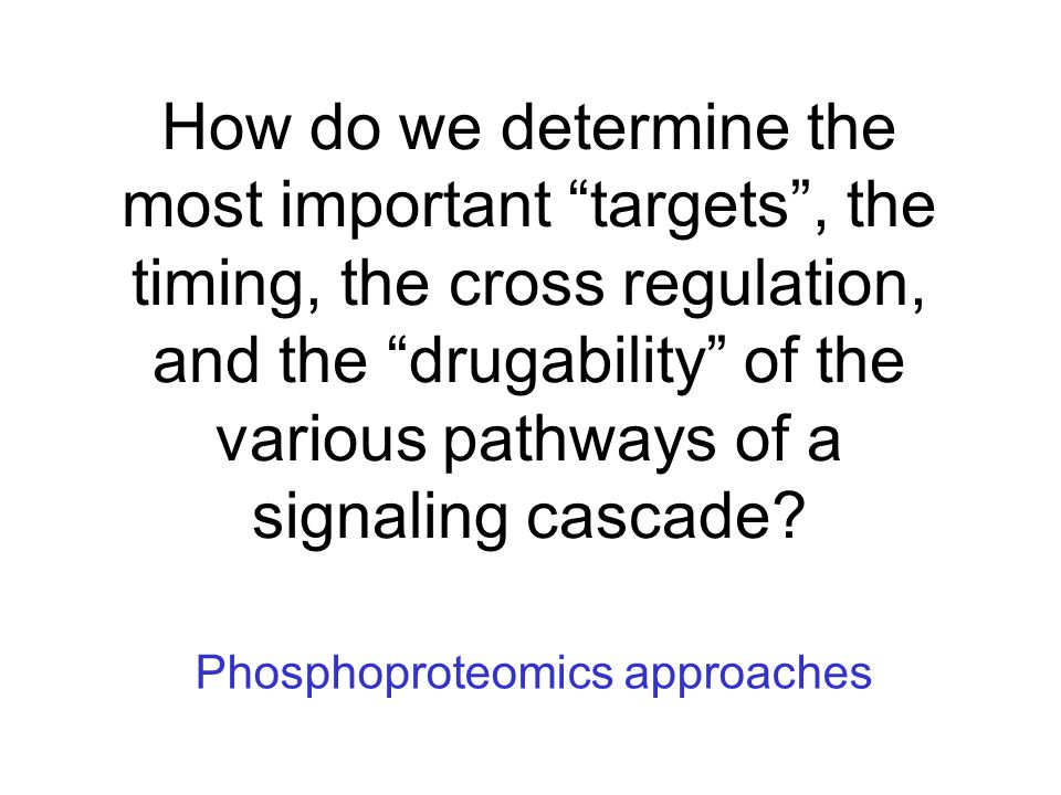 How do we determine the most important targets , the timing, the cross regulation, and the drugability of the various pathways of a signaling cascade.