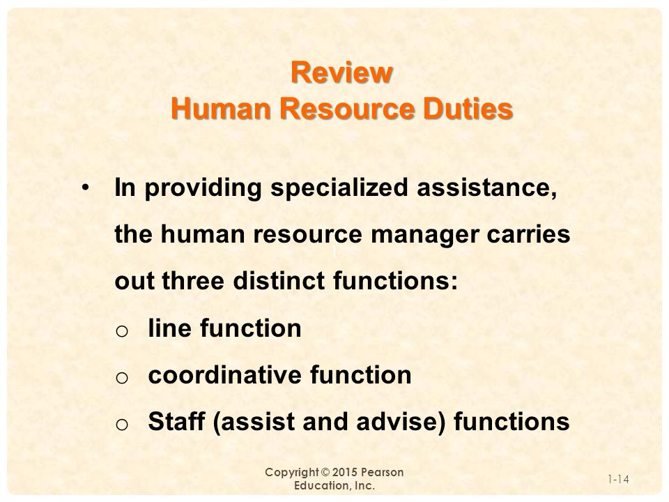 1 Copyright © 2015 Pearson Education, Inc. 1-14 Review Human Resource Duties In providing specialized assistance, the human resource manager carries o