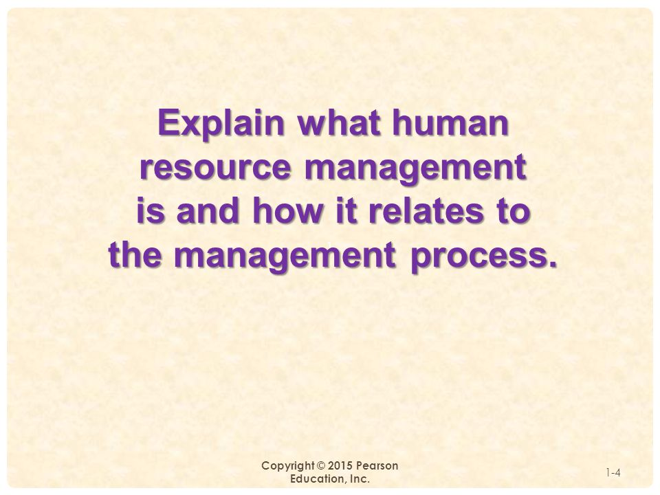1 Copyright © 2015 Pearson Education, Inc. 1-4 Explain what human resource management is and how it relates to the management process.