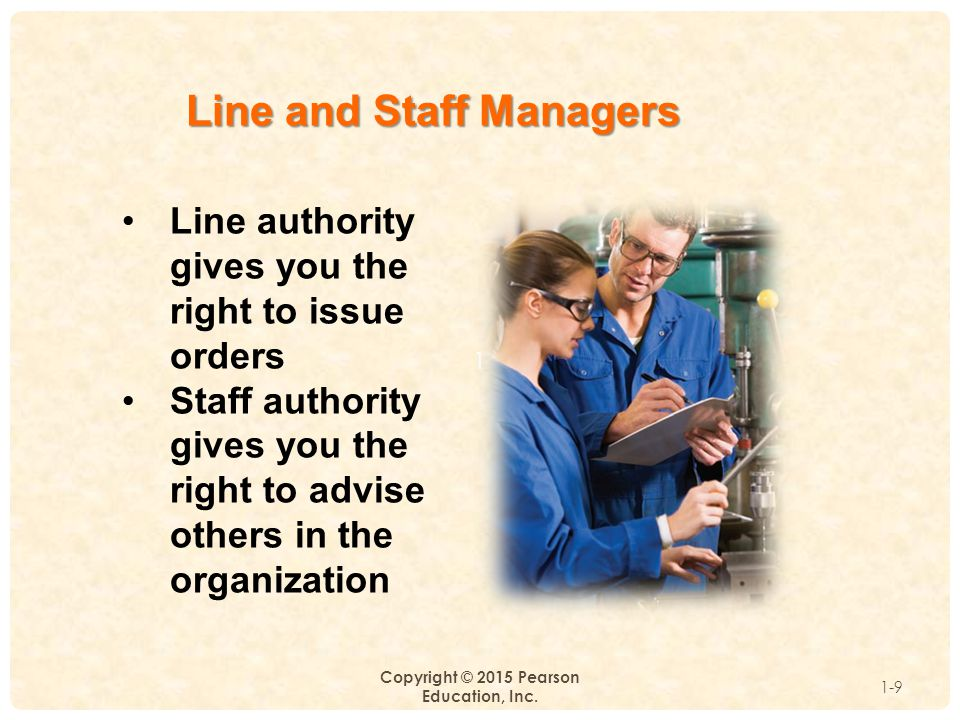 1 Copyright © 2015 Pearson Education, Inc. 1-9 Line and Staff Managers Line authority gives you the right to issue orders Staff authority gives you th