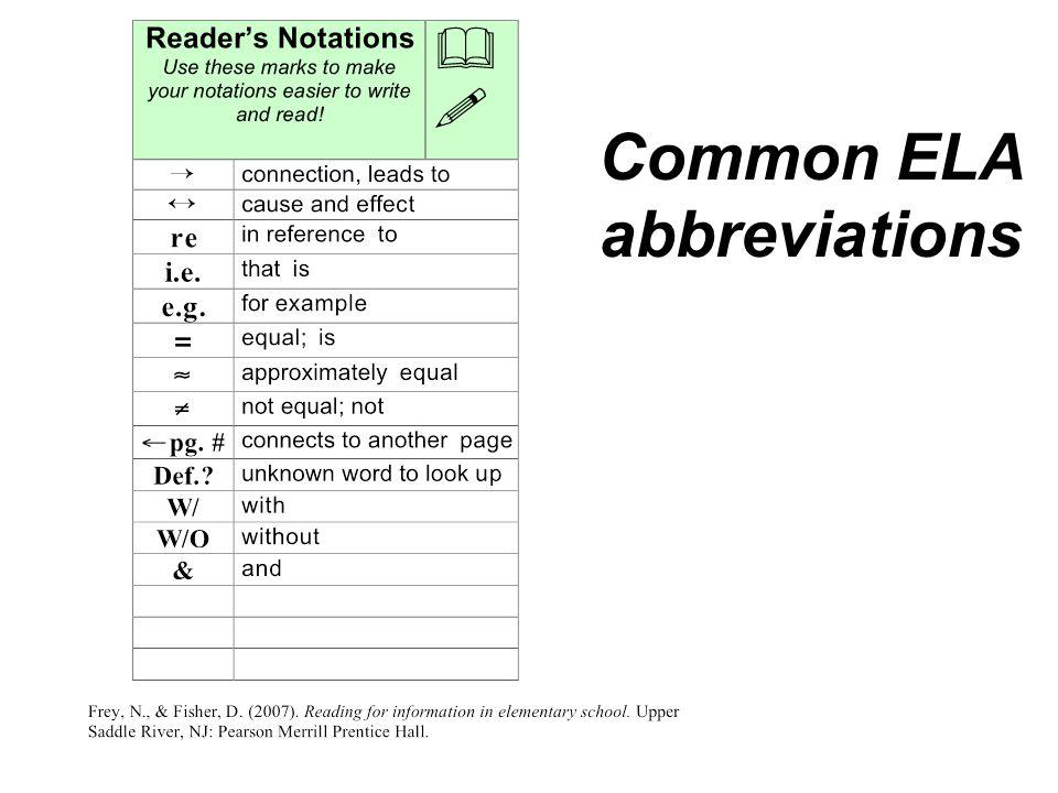 Common ELA abbreviations