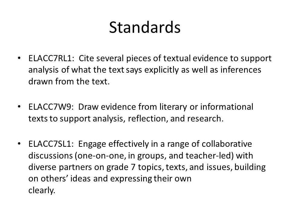 Standards ELACC7RL1: Cite several pieces of textual evidence to support analysis of what the text says explicitly as well as inferences drawn from the text.
