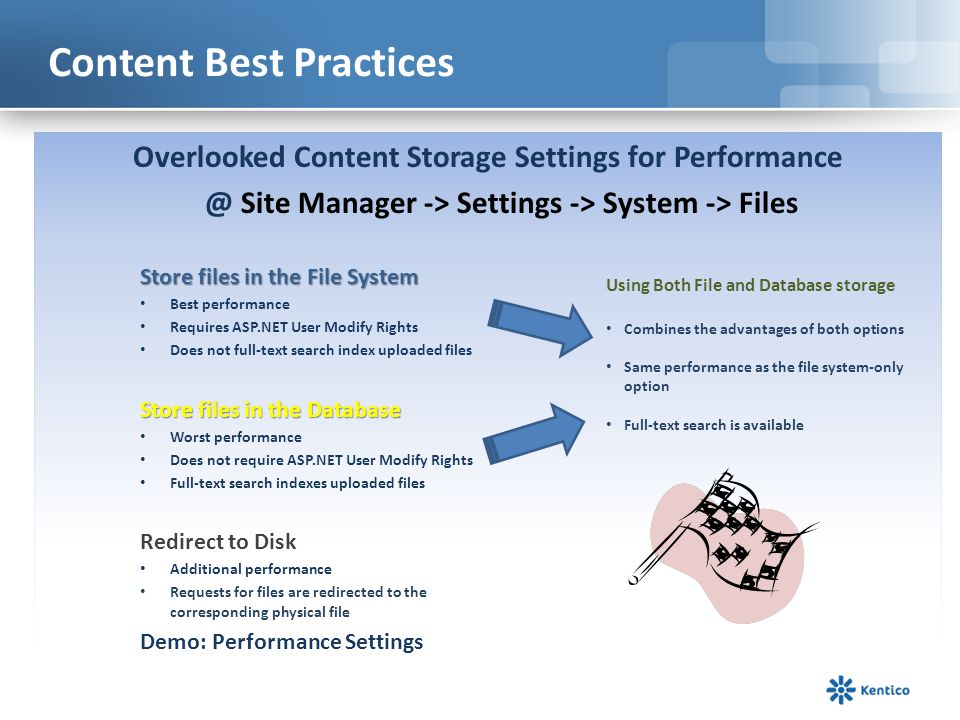 Content Best Practices Where should I store content, Which is faster.