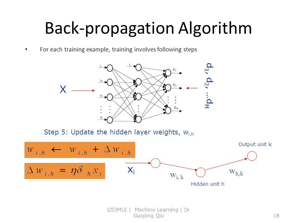Back-propagation Algorithm For each training example, training involves following steps G53MLE | Machine Learning | Dr Guoping Qiu18 Step 5: Update the hidden layer weights, w i,h X d 1, d 2, …d M Hidden unit h Output unit k w h,k w i, h xixi