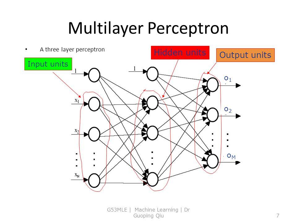Multilayer Perceptron A three layer perceptron G53MLE | Machine Learning | Dr Guoping Qiu7 Hidden units Input units Output units o1o1 o2o2 oMoM