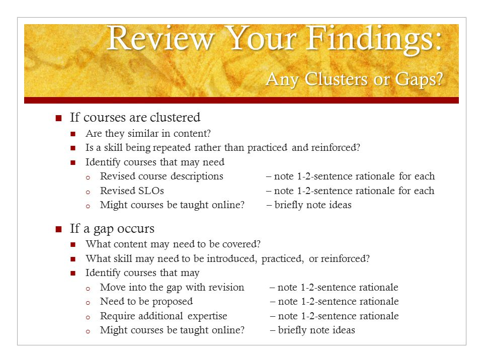 Review Your Findings: Any Clusters or Gaps. Review Your Findings: Any Clusters or Gaps.