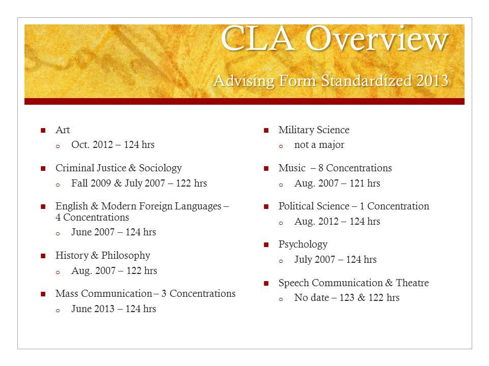 CLA Overview Advising Form Standardized 2013 Art o Oct.