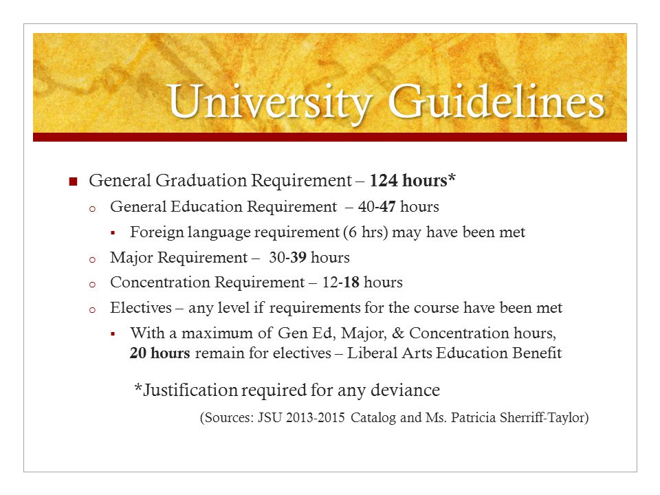 University Guidelines General Graduation Requirement – 124 hours* o General Education Requirement – 40- 47 hours  Foreign language requirement (6 hrs