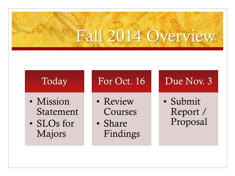 Agenda for Today Each Department to Report (< 5 minutes) o Mission Statement o Student Learning Outcomes (SLOs) for Majors Plan to Review the Catalog  Identify faculty team  Use SLOs to sort through courses 1 at a time  Identify mechanism to help map courses Examples available, i.e., Bloom's Taxonomy grid