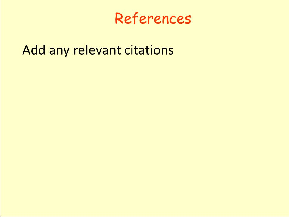 References Add any relevant citations