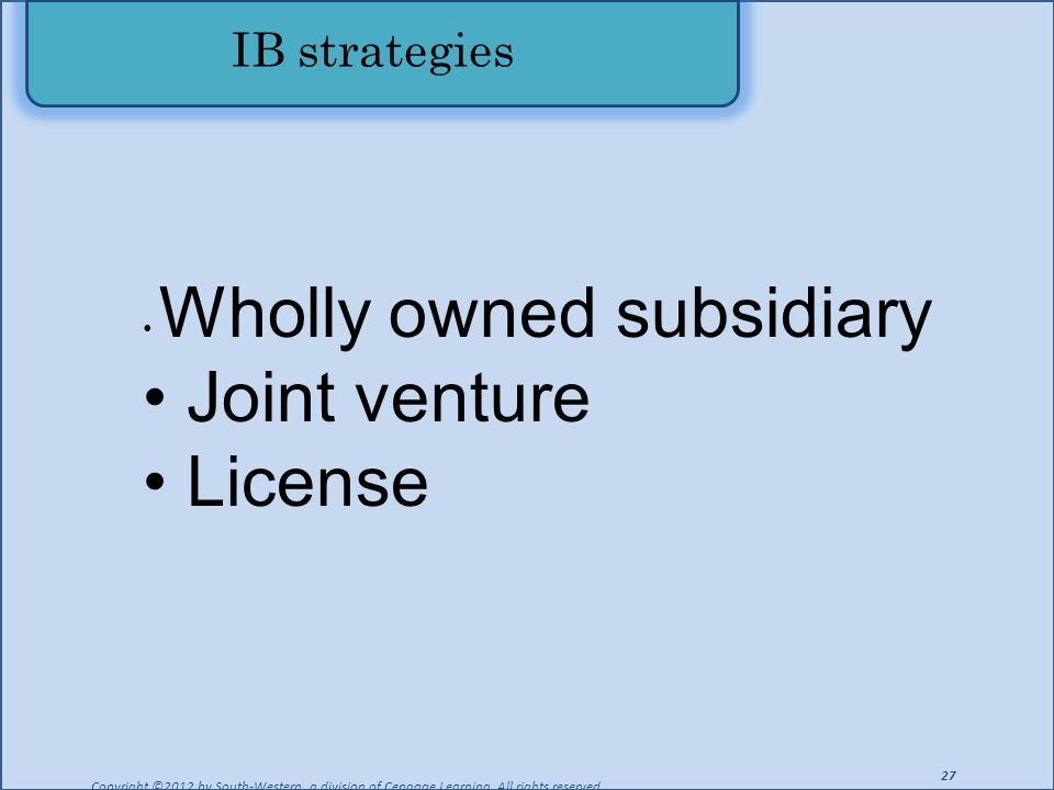 IB strategies Copyright ©2012 by South-Western, a division of Cengage Learning. All rights reserved. 27 Wholly owned subsidiary Joint venture License