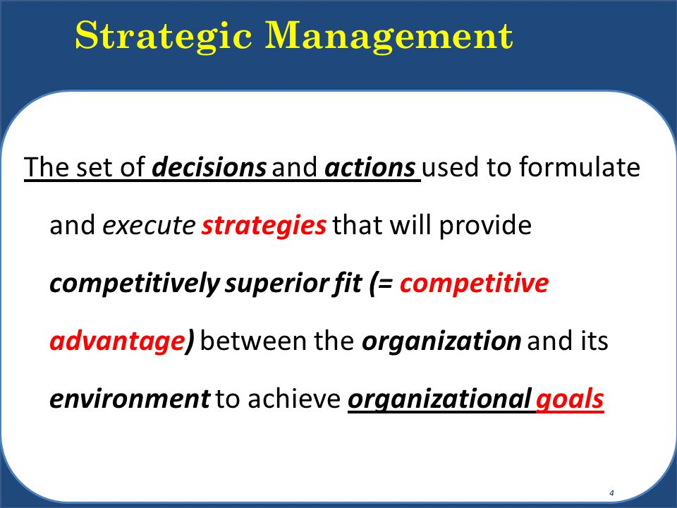Explicit strategy is the plan of action that describes resource allocation and activities for dealing with the environment, achieving a competitive advantage, and attaining the organization's goals Competitive advantage is the organization's distinctive edge for meeting customer needs Strategies should: Exploit Core Competencies Build Synergy Deliver Value Target Customers Purpose of Strategy 5