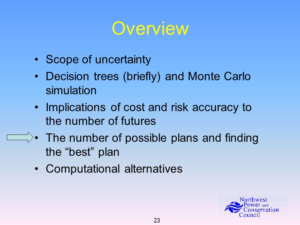 23 Overview Scope of uncertainty Decision trees (briefly) and Monte Carlo simulation Implications of cost and risk accuracy to the number of futures The number of possible plans and finding the best plan Computational alternatives