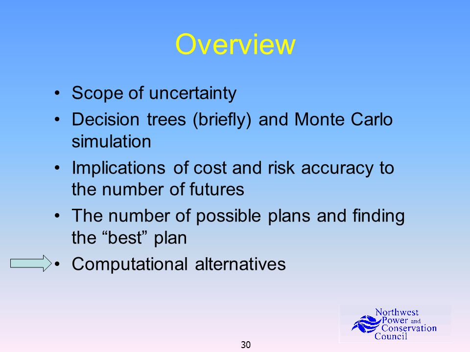 30 Overview Scope of uncertainty Decision trees (briefly) and Monte Carlo simulation Implications of cost and risk accuracy to the number of futures The number of possible plans and finding the best plan Computational alternatives