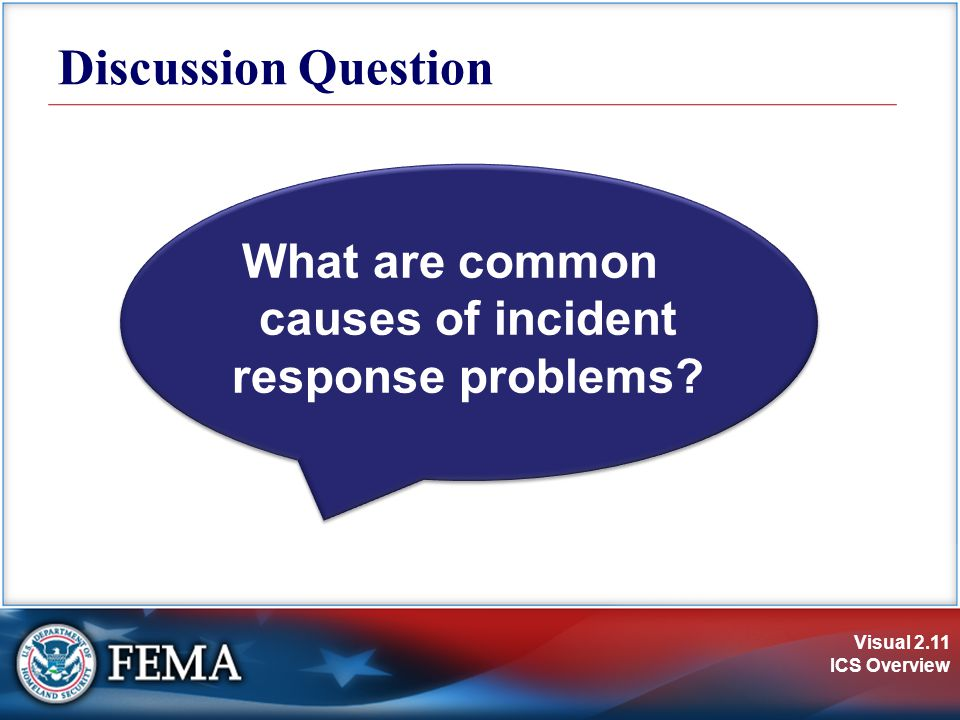 Visual 2.11 ICS Overview What are common causes of incident response problems Discussion Question