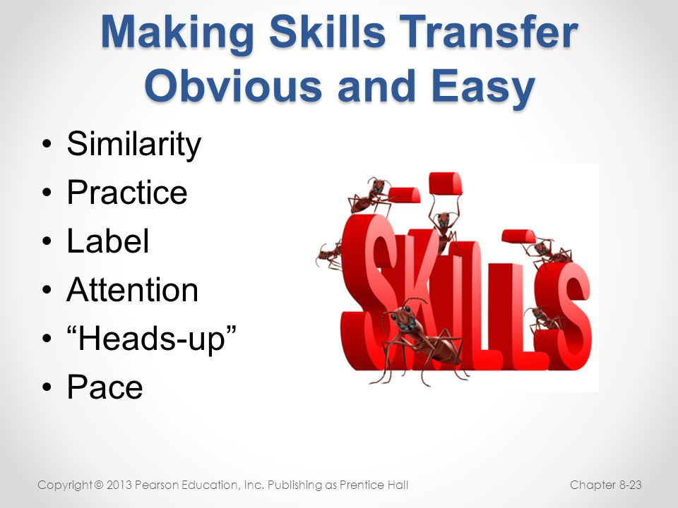 "Making Skills Transfer Obvious and Easy Similarity Practice Label Attention ""Heads-up"" Pace Copyright © 2013 Pearson Education, Inc. Publishing as Pre"