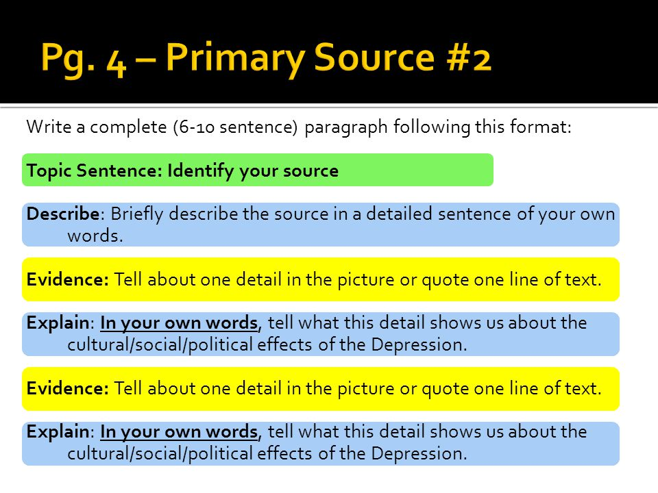Write a complete (6-10 sentence) paragraph following this format: Topic Sentence: Identify your source Describe: Briefly describe the source in a deta