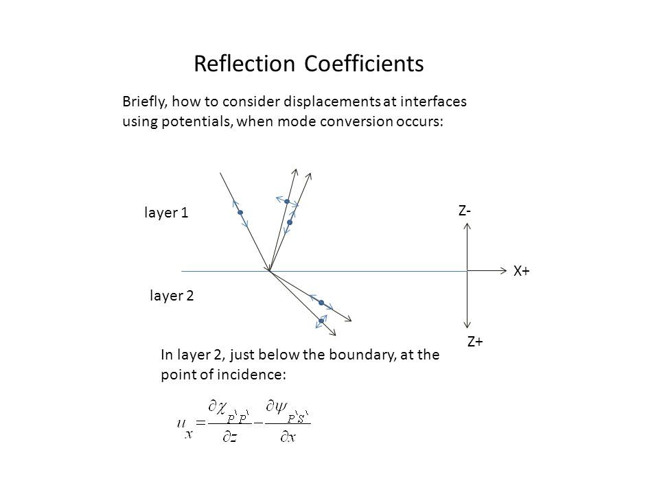 Reflection Coefficients Z+ Z- X+ layer 1 layer 2 Briefly, how to consider displacements at interfaces using potentials, when mode conversion occurs: In layer 2, just below the boundary, at the point of incidence: