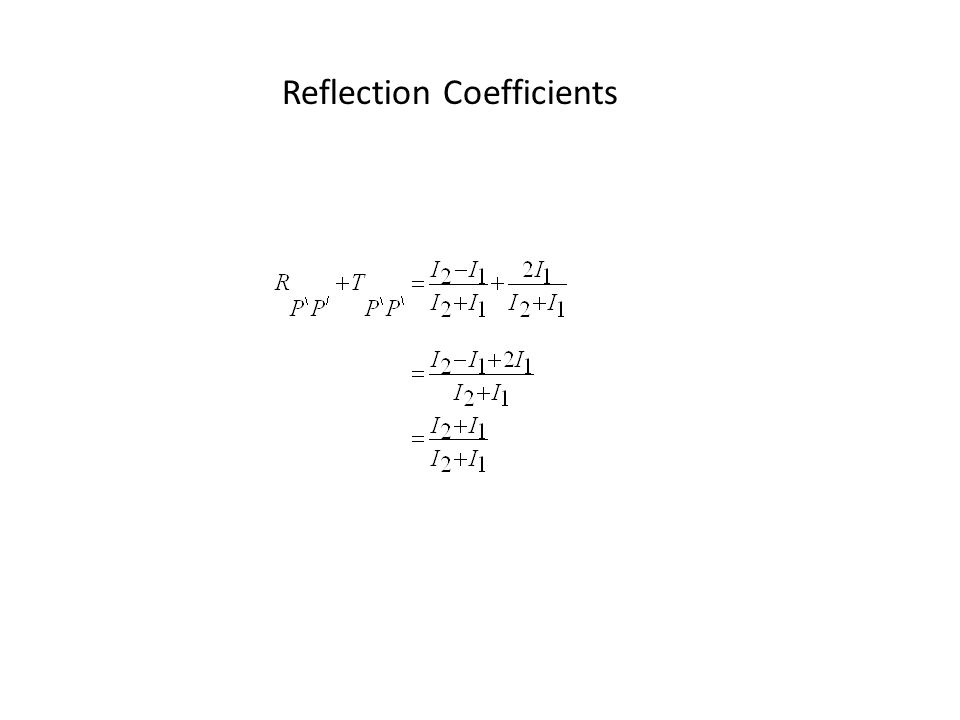 Reflection Coefficients We get the general case of all the different types of reflection and transmission (refraction or not) coefficients at all angles of incidence :
