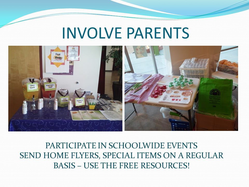 INVOLVE PARENTS PARTICIPATE IN SCHOOLWIDE EVENTS SEND HOME FLYERS, SPECIAL ITEMS ON A REGULAR BASIS – USE THE FREE RESOURCES!