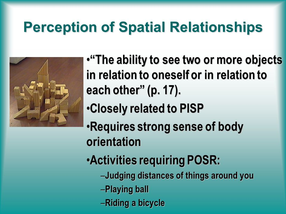 Position-In-Space Perception The ability to relate an object in space to oneself (p.