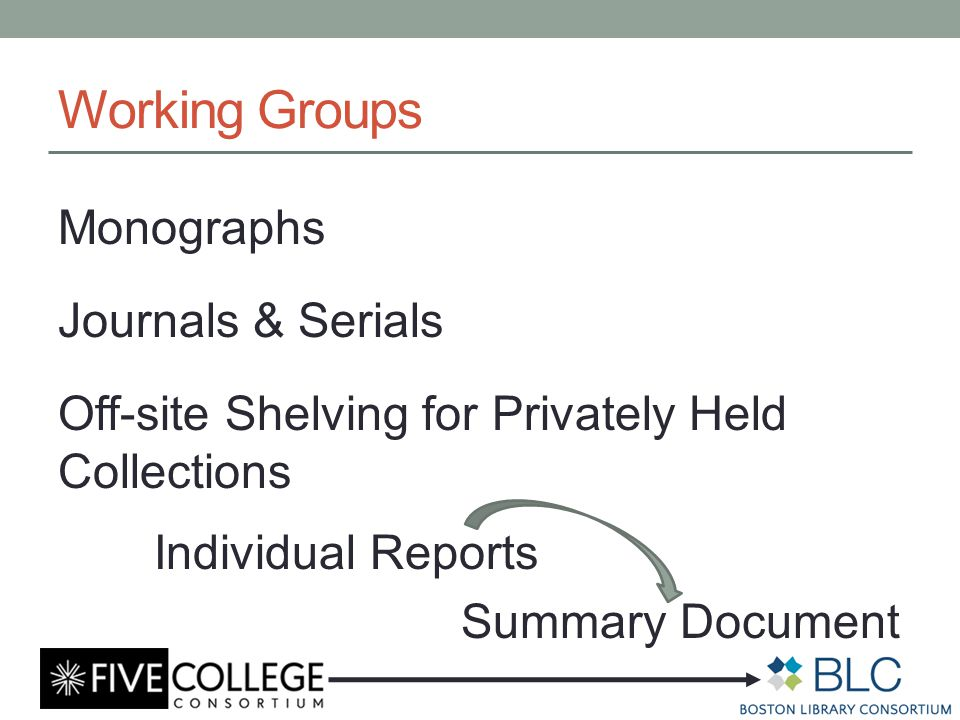 Working Groups Monographs Journals & Serials Off-site Shelving for Privately Held Collections Individual Reports Summary Document