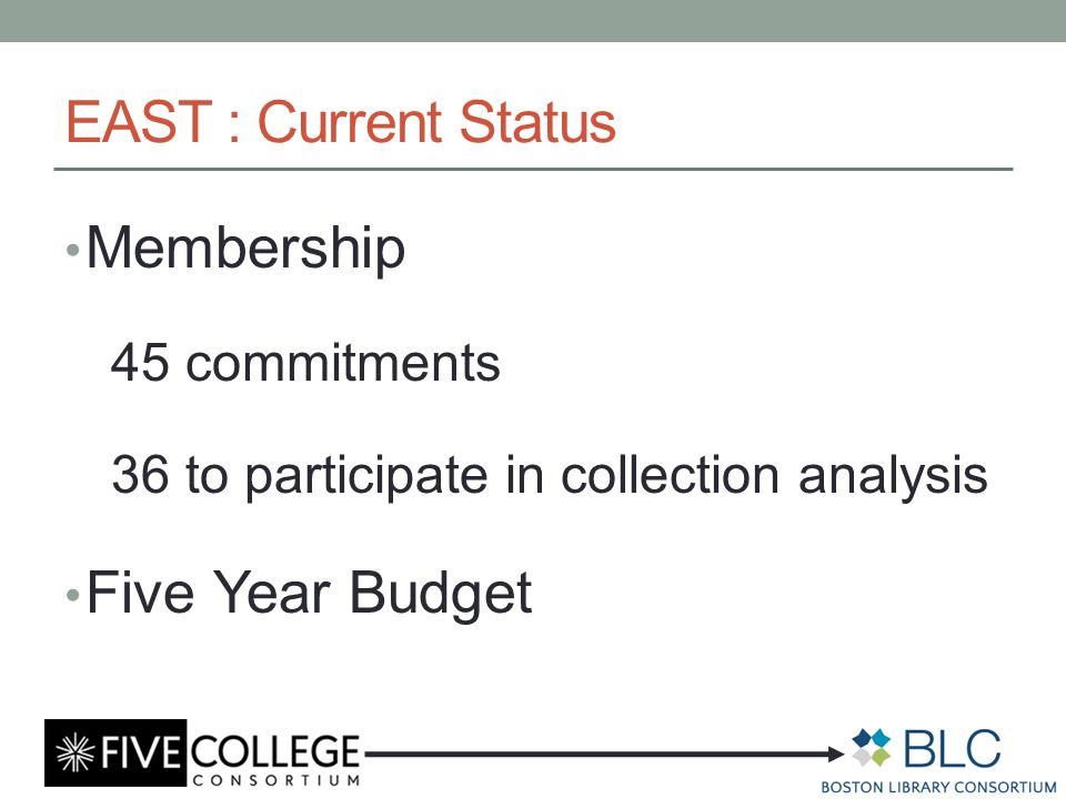 EAST : Current Status Membership 45 commitments 36 to participate in collection analysis Five Year Budget