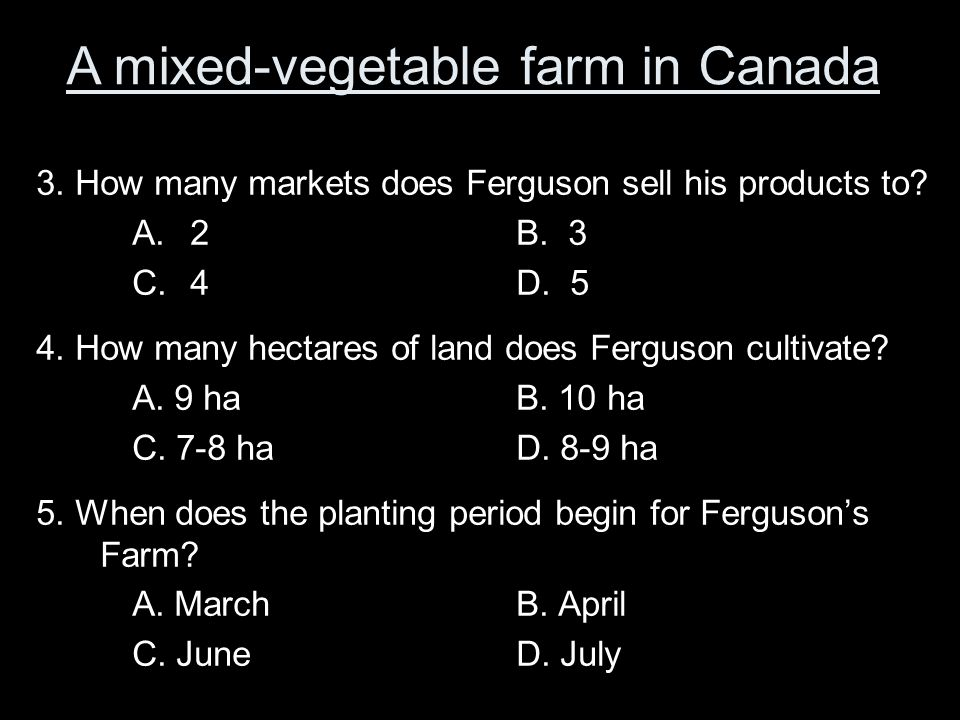 A mixed-vegetable farm in Canada 1.Which type of crop does Ferguson not harvest? A.Carrots B.Rutabagas C.Pumpkin D.Cabbage 2.Which type of crop has Fe