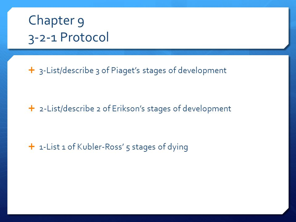 Chapter 9 3-2-1 Protocol  3-List/describe 3 of Piaget's stages of development  2-List/describe 2 of Erikson's stages of development  1-List 1 of Kubler-Ross' 5 stages of dying