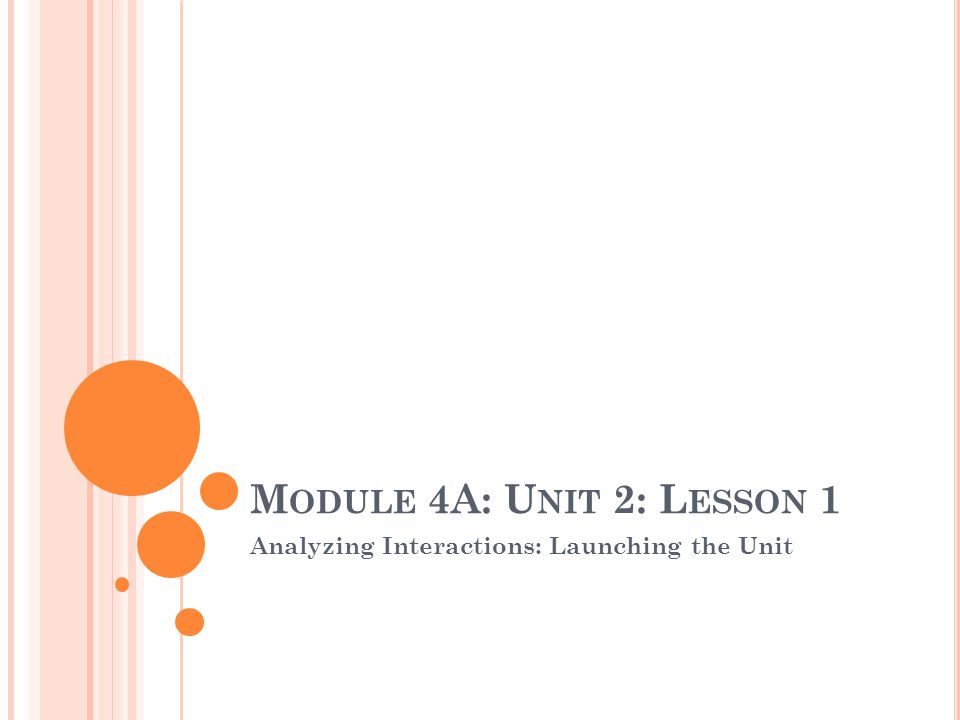 M ODULE 4A: U NIT 2: L ESSON 1 Analyzing Interactions: Launching the Unit